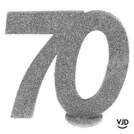 Décoration chiffre anniversaire verticale 70 ans argent 11 cm