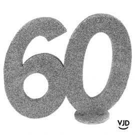 Décoration chiffre anniversaire verticale 60 ans argent 11 cm
