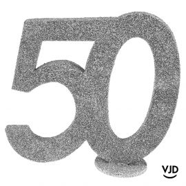 Décoration chiffre anniversaire verticale 50 ans argent 11 cm