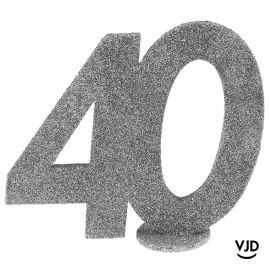 Décoration chiffre anniversaire verticale 40 ans argent 11 cm