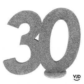 Décoration chiffre anniversaire verticale 30 ans argent 11 cm