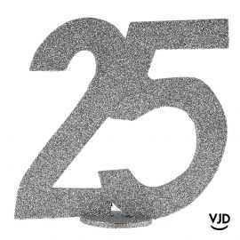 Décoration chiffre anniversaire verticale 25 ans argent 11 cm