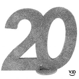 Décoration chiffre anniversaire verticale 20 ans argent 11 cm