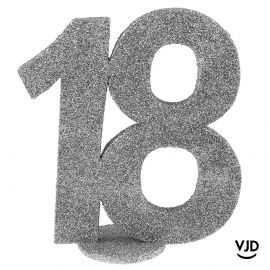 Décoration chiffre anniversaire verticale 18 ans argent 11 cm