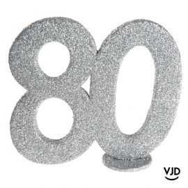 Décoration chiffre anniversaire verticale 80 ans argent 11 cm