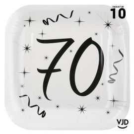 10 assiettes carton carrée anniversaire blanches et noires 70 ans. 23 x 23 cm