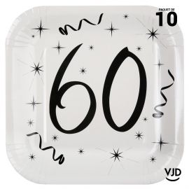 10 assiettes carton carrée anniversaire blanches et noires 60 ans. 23 x 23 cm