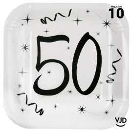 10 assiettes carton carrée anniversaire blanches et noires 50 ans. 23 x 23 cm