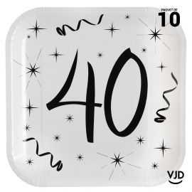10 assiettes carton carrée anniversaire blanches et noires 40 ans. 23 x 23 cm