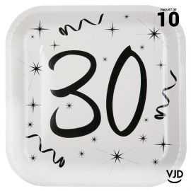10 assiettes carton carrée anniversaire blanches et noires 30 ans. 23 x 23 cm