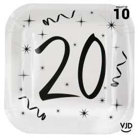 10 assiettes carton carrée anniversaire blanches et noires 20 ans. 23 x 23 cm