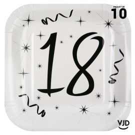 10 assiettes carton carrée anniversaire blanches et noires 18 ans. 23 x 23 cm