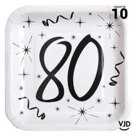 10 assiettes carton carrée anniversaire blanches et noires 80 ans. 23 x 23 cm