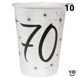 10 gobelets carton blanc et noir 70 ans. 25 cl.