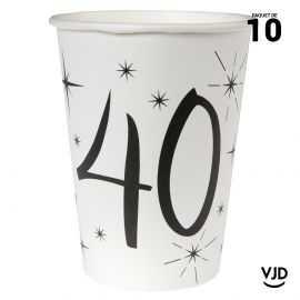 10 gobelets carton blanc et noir 40 ans. 25 cl.