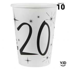 10 gobelets carton blanc et noir 20 ans. 25 cl.