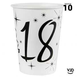 10 gobelets carton blanc et noir 18 ans. 25 cl.