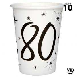 10 gobelets carton blanc et noir 80 ans. 25 cl.