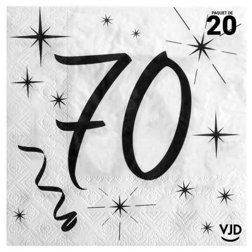 20 serviettes blanches et noires 70 ans. 33 x 33 cm