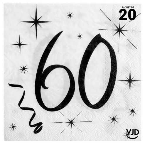 20 serviettes blanches et noires 60 ans. 33 x 33 cm
