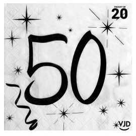20 serviettes blanches et noires 50 ans. 33 x 33 cm