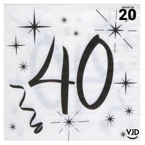 20 serviettes blanches et noires 40 ans. 33 x 33 cm