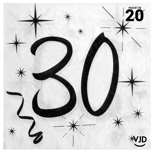 20 serviettes blanches et noires 30 ans. 33 x 33 cm