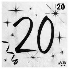 20 serviettes blanches et noires 20 ans. 33 x 33 cm