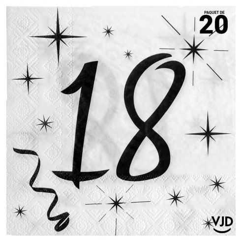 20 serviettes blanches et noires 18 ans. 33 x 33 cm