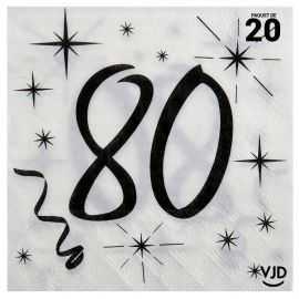 20 serviettes blanches et noires 80 ans. 33 x 33 cm