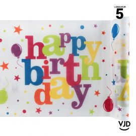 Chemin de table Happy Birthday multicolore. 5 mètres
