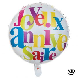 Ballon aluminium 35 cm Anniversaire festif multicolore
