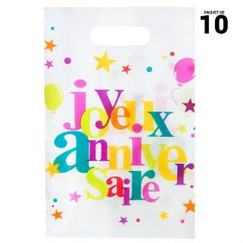10 sacs Anniversaire festif multicolore