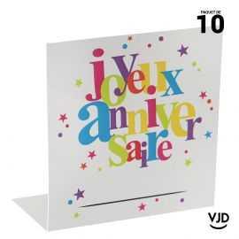 10 marques-places carton Anniversaire festif multicolore