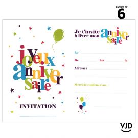 6 cartons invitation Joyeux Anniversaire festif