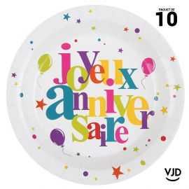 10 assiettes carton ronde Anniversaire festif multicolore. 22,5 cm