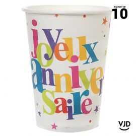 10 gobelets carton Anniversaire festif multicolore. 25 cl.