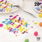 20 serviettes Anniversaire festif multicolore. 33 x 33 cm