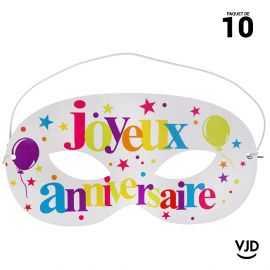 10 masques carton Anniversaire festif multicolore