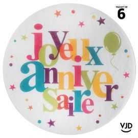 6 sets de table Anniversaire festif multicolore 34 cm