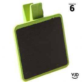 6 ardoises bois carrées verts sur pince. 3 x 4 cm