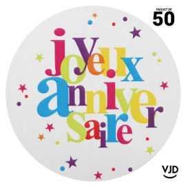 50 stickers papier Anniversaire festif multicolore 4 cm