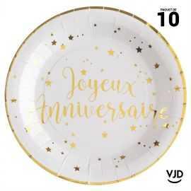 10 assiettes carton ronde Joyeux anniversaire blanche et or. 22,5 cm