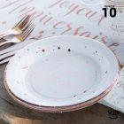 10 assiettes carton rondes Joyeux anniversaire rose gold. 22,5 cm