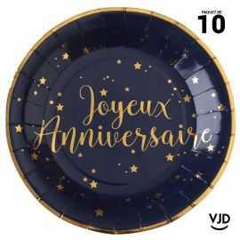 10 assiettes carton ronde Joyeux anniversaire marine et or. 22,5 cm