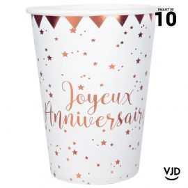 10 gobelets carton Joyeux anniversaire rose gold. 25 cl