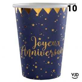 10 gobelets carton Joyeux anniversaire marine et or. 25 cl.