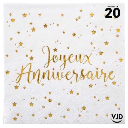 20 petites serviettes Joyeux anniversaire blanc et or . 25 x 25 cm