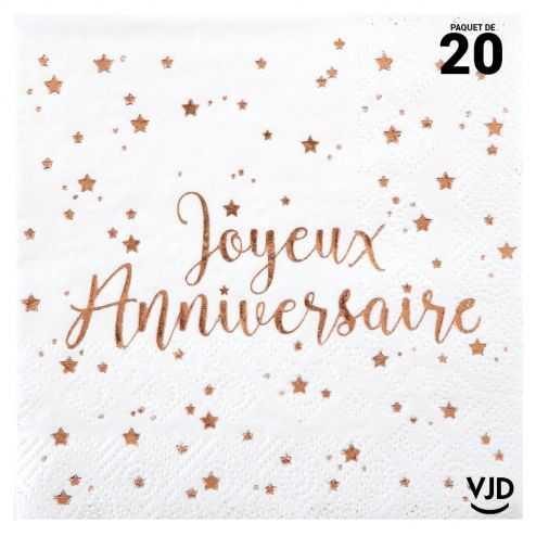 20 petites serviettes Joyeux anniversaire rose gold 25 x 25 cm