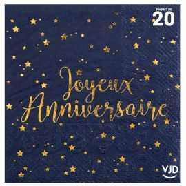 20 petites serviettes Joyeux anniversaire marine et or . 25 x 25 cm